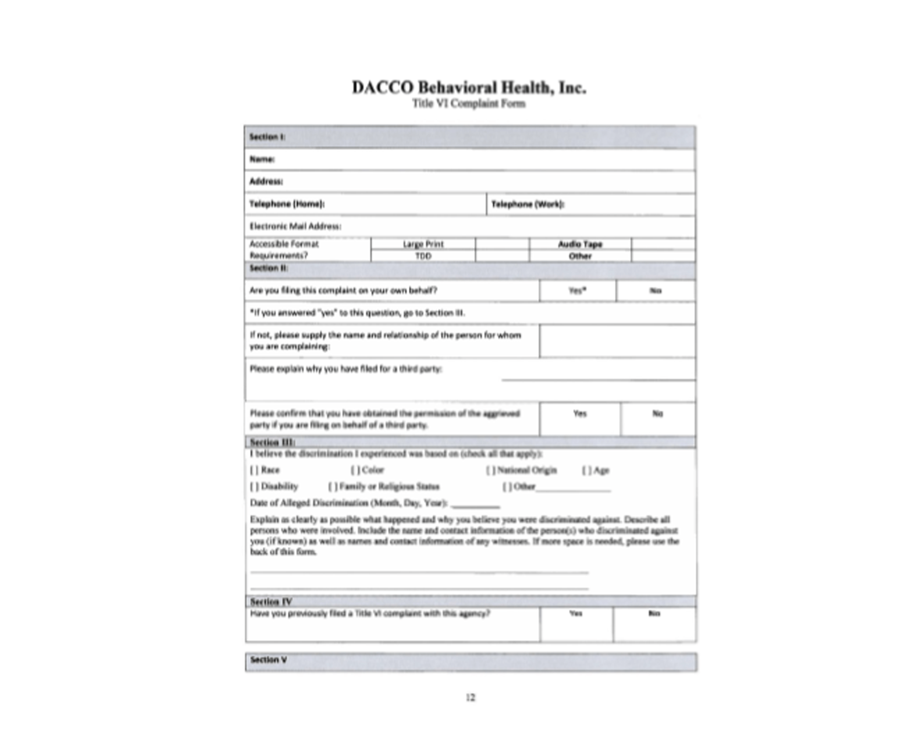 DACCO Van Transportation Discrimination Complaint Form - Spanish Version